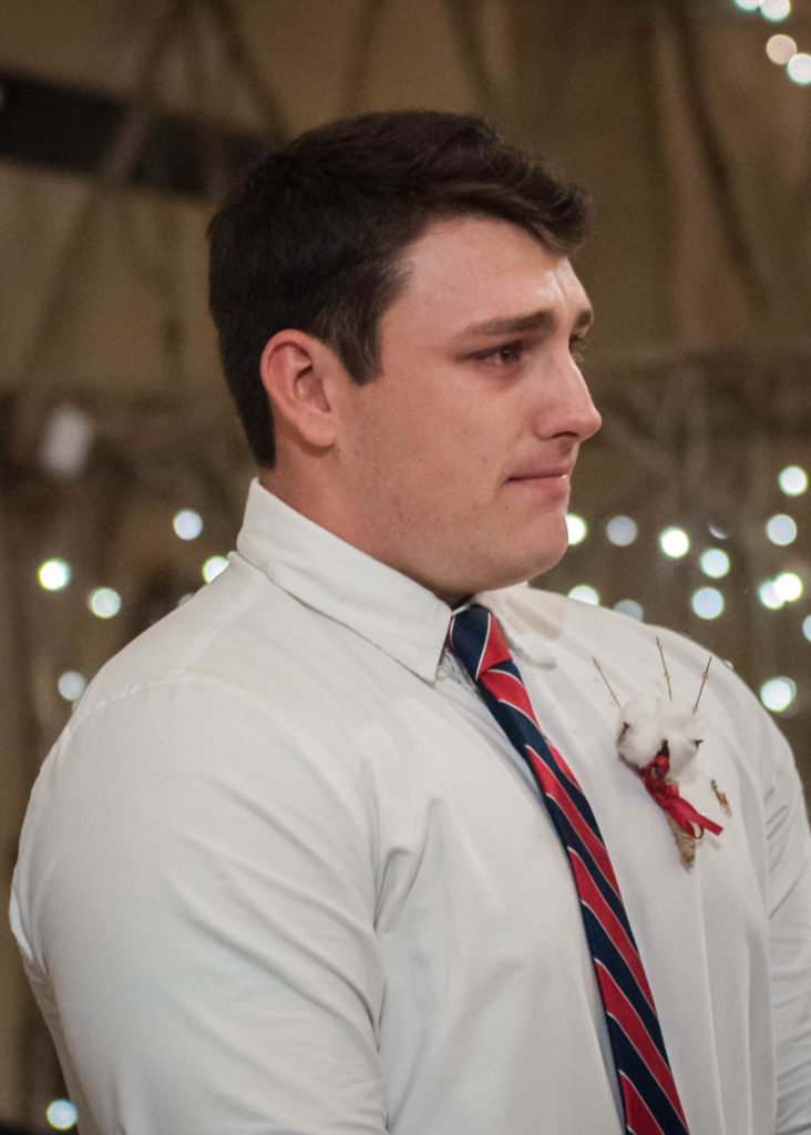 groom cries as bride come down aisle
